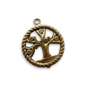 Vintaj Natural Brass 24x20mm Tree of Life Pendant x1