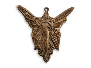 Vintaj Natural Brass - 30x30mm Art Deco Angel Pendant x1