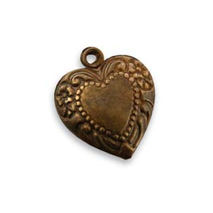 Vintaj Natural Brass 18x16mm Cherished Heart Charm x1