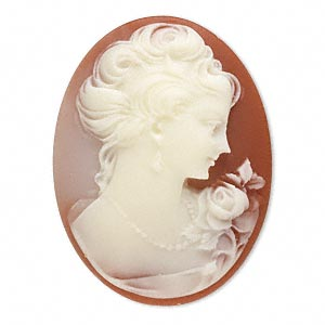 Cameo Cbochon - Acrylic 40x30mm Oval Profile of Lady (with Rose) - Ivory on Carnelian effect x1