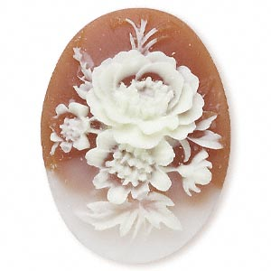 Cameo Cabochon - Acrylic 40x30mm Oval Flowers (Style 1) - Ivory on Carnelian effect x1