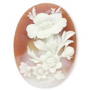Cameo Cabochon - Acrylic 40x30mm Oval Flowers (Style 2) - Ivory on Carnelian effect x1