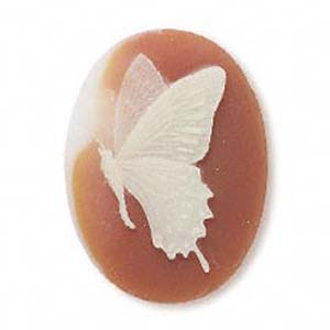 Cameo Cabochon - Acrylic 40x30mm Oval Butterfly (Style 1) - Ivory on Carnelian effect x1