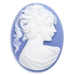 Cameo Cabochon - Acrylic 40x30mm Oval Profile of Lady (Style 1) - White on Blue x1