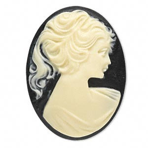 Cameo Cabochon - Acrylic 40x30mm Oval Profile of Lady (Style 1) - Ivory on Black x1