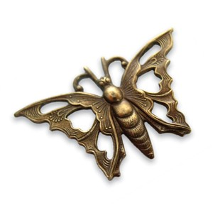 Vintaj Natural Brass 35x21mm Open Work Butterfly x1