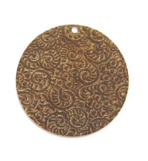 Vintaj Natural Brass 25mm Embossed Swirls Pendant x1