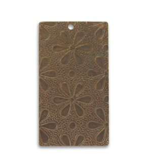 Vintaj Natural Brass 32mm Embossed Daisies Pendant x1