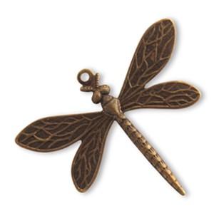Vintaj Natural Brass 30x35mm Queen Dragonfly x1