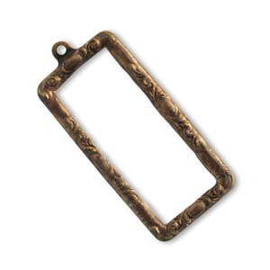 Vintaj Natural Brass 43x20mm Scrolled Frame x1