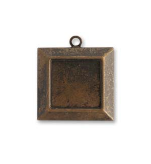 Vintaj Natural Brass 22x20mm Picture Frame x1