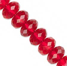 Czech Glass Fire Polished beads 11/7mm Roundel x1 Ruby