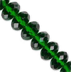 Czech Glass Fire Polished beads 11/7mm Roundel x1 Emerald Green