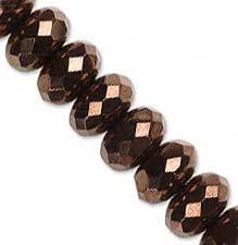 Czech Glass Fire Polished beads 11/7mm Roundel x1 Bronze