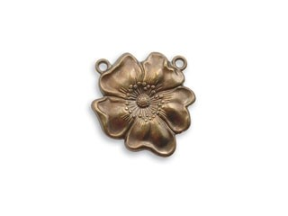Vintaj Natural Brass - 19x19mm Flower Pendant Connector x1