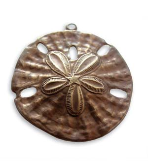 Vintaj Natural Brass 37x33mm Sand Dollar Pendant x1