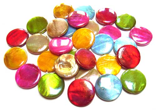 Shell Coin Beads 18mm - Soup Mix 60 grams (30 beads)