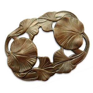 Vintaj Natural Brass - 68x53mm Maidenhair Leaves x1