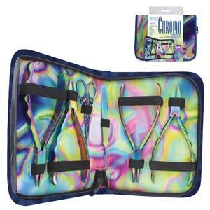 Beadsmith Pliers, Chroma Rainbow Titanium Set in Case