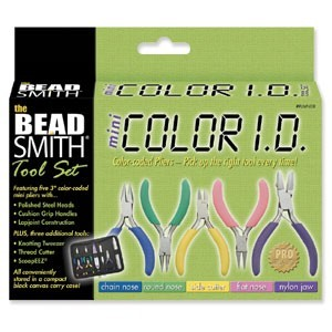 Beadsmith 8 Piece Plier Set - Mini Colour ID in Carry Case