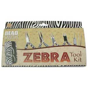 Beadsmith Zebra Pliers 6 pc Tool Set plus Case