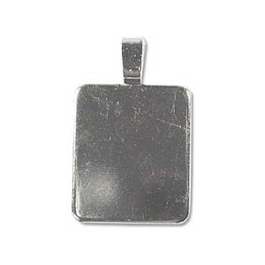 Small Stainless Steel Plate 31x19.5mm Glue on Jewellery Bail x1