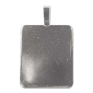 Large Stainless Steel Plate 50x31.6mm Glue on Jewellery Bail x1
