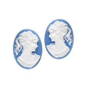Cabochon - Acrylic 18x13mm Oval Profile of Lady (Style 1) - White on Blue x1 pair