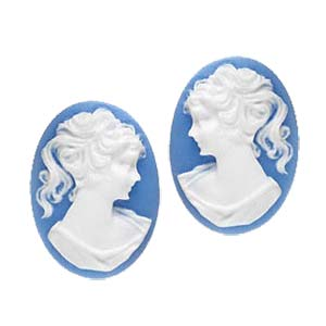 Cabochon - Acrylic 25x18mm Oval Profile of Lady (Style 1) - White on Blue x1 pair