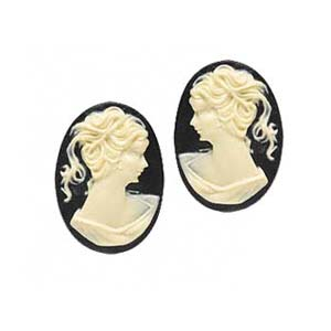 Cabochon - Acrylic 18x13mm Oval Profile of Lady (Style 1) - Ivory on Black x1 pair