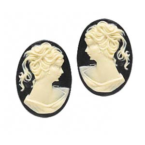 Cabochon - Acrylic 25x18mm Oval Profile of Lady (Style 1) - Ivory on Black x1 pair
