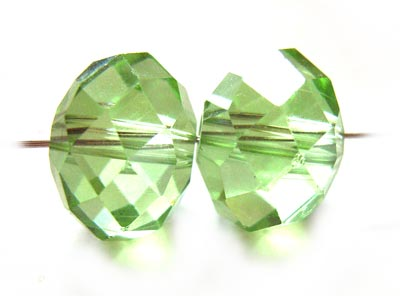 Crystal Roundelle Beads 12x9mm Peridot x20