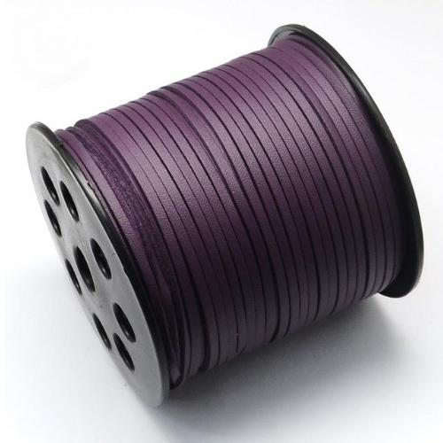 Faux Leather Leatherette Flat Cord 2.7-3mm Purple per metre