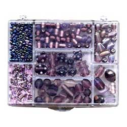 Box of Beads for Jewellery Making - Amethyst Purple