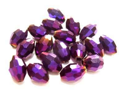 Firepolished Glass Olive Beads 8x6mm Purple Iris Metallic (72pc approx)
