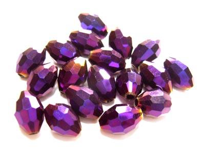 Firepolished Glass Olive Beads 8x6mm Purple Iris Metallic (72pc approx)