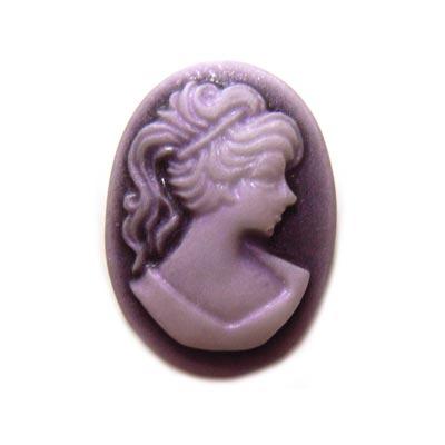 Cabochon - Acrylic 18x13mm Oval Profile of Lady (Style 1) - Purple Tones x1