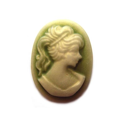Cabochon - Acrylic 18x13mm Oval Profile of Lady (Style 1) - Green Tones x1