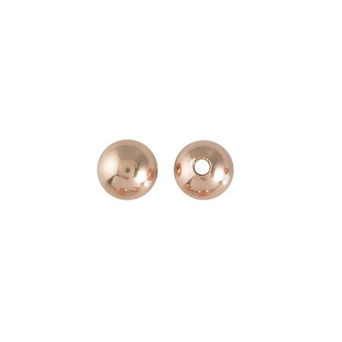 Rose Gold Filled Beads - 6mm Plain Round Bead (1.5mm hole) x1