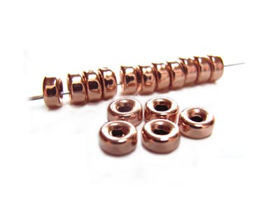 14kt Rose Gold Filled Beads 3mm Roundel Donut Bead (1mm hole) x2