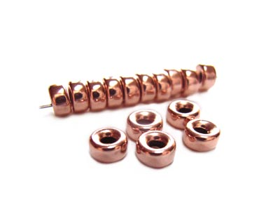 14kt Rose Gold Filled Beads 4mm Roundel Donut Bead (1.3mm hole) x1