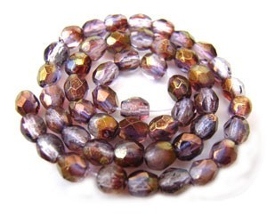 Czech Glass Fire Polished beads - 3mm Lustre Amethyst Crystal x50