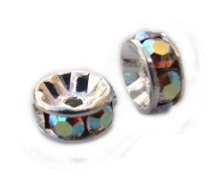 Swarovski Crystal Beads Rondell Spacer 6mm Crystal AB x1