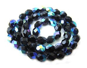 Czech Glass Fire Polished beads - 3mm Jet Black AB x50