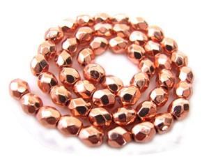 Czech Glass Fire Polished beads - 3mm - x50 Copper Penny Metallic