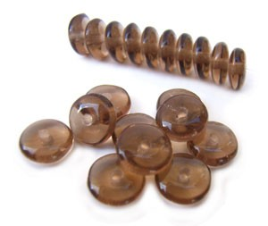 Czech Glass Rondell Disk Spacer Beads 6mm Smoky Topaz x50