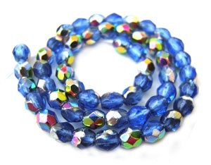 Czech Glass Fire Polished beads - 3mm Sapphire Vitral x50