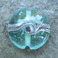 Silvered Ivory Swirl Aqua 18mm Lentil Handmade Artisan Glass Lampwork Beads - By the Bead, (Made to Order)