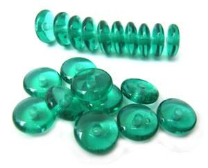 Czech Glass Rondell Disk Spacer Beads 6mm Emerald x50