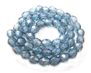 Czech Glass Fire Polished beads - 3mm Lustre Transparent Blue x50